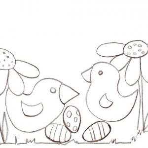 Coloriage de Pâques à imprimer. Coloriage Pâques : 2 petits poussins et les oeufs