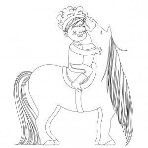 Coloriage poney : voici un dessin à imprimer avec un petit poney. Un coloriage à imprimer sur le thème des poneys - Page 1