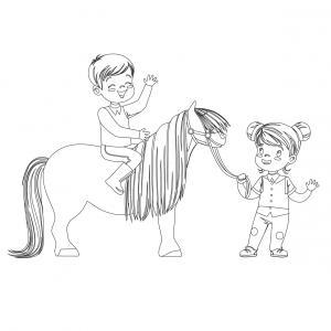 Coloriage poney : voici un dessin à imprimer avec un petit poney. Un coloriage à imprimer sur le thème des poneys - Page 3
