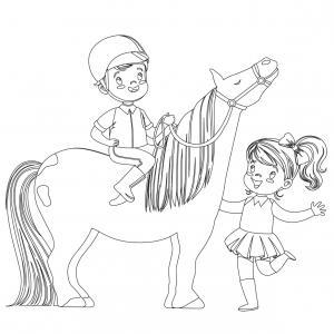 Coloriage poney : voici un dessin à imprimer avec un petit poney. Un coloriage à imprimer sur le thème des poneys - Page 5