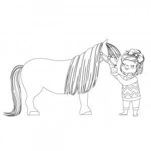 Coloriage poney : voici un dessin à imprimer avec un petit poney. Un coloriage à imprimer sur le thème des poneys - Page 8