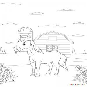 Coloriage poney : voici un dessin à imprimer avec un petit poney. Un coloriage à imprimer sur le thème des poneys - Page 12