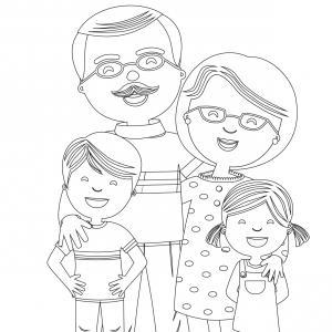 Coloriage pour mamie à proposer aux enfants pour faire plaisir à la fête des grands mères. Page 1