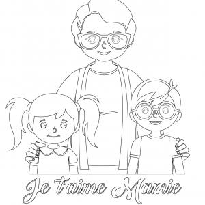 Coloriage pour mamie à proposer aux enfants pour faire plaisir à la fête des grands mères. Page 6