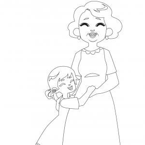 Coloriage pour mamie à proposer aux enfants pour faire plaisir à la fête des grands mères. Page 8