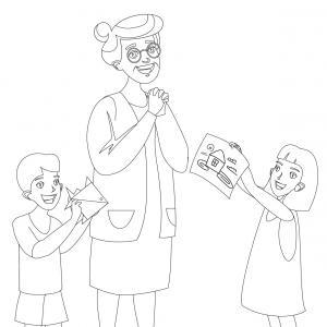 Coloriage pour mamie à proposer aux enfants pour faire plaisir à la fête des grands mères. Page 7