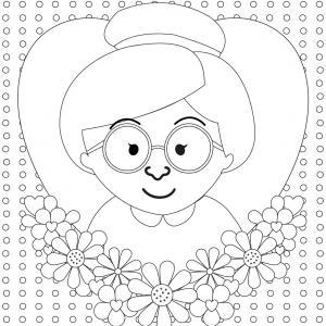 Coloriage pour mamie à proposer aux enfants pour faire plaisir à la fête des grands mères. Page 9