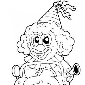 Imprimer le coloriage pour petits : Coloriage pour petits : clown en voiture