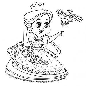 Un coloriage de princesse à imprimer gratuitement pour tous les enfants qui aiment les histoires fantastiques. Modèle 03
