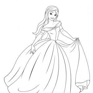 Un coloriage de princesse à imprimer gratuitement pour tous les enfants qui aiment les histoires fantastiques. Modèle 04
