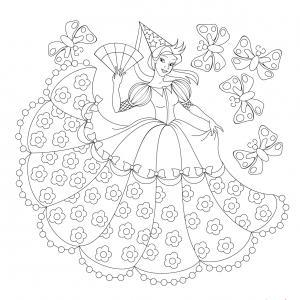 Un coloriage de princesse à imprimer gratuitement pour tous les enfants qui aiment les histoires fantastiques. Modèle 05