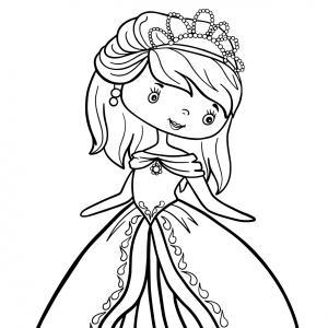 Un coloriage de princesse à imprimer gratuitement pour tous les enfants qui aiment les histoires fantastiques. Modèle 07