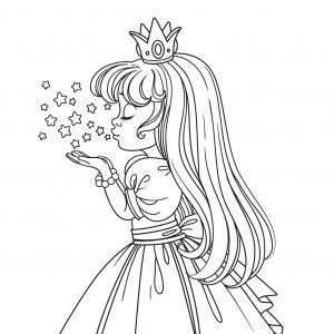 Un coloriage de princesse à imprimer gratuitement pour tous les enfants qui aiment les histoires fantastiques. Modèle 08