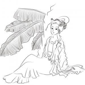 Un coloriage de princesse à imprimer gratuitement pour tous les enfants qui aiment les histoires fantastiques. Modèle 12