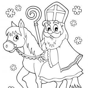 Imprimez votre coloriage de Saint Nicolas gratuitement et proposez à votre enfant de colorier un adorable St Nicolas - Page 4