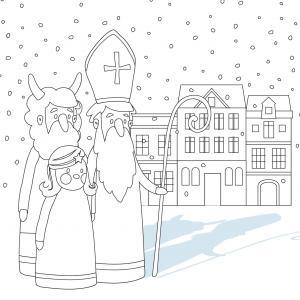 Imprimez votre coloriage de Saint Nicolas gratuitement et proposez à votre enfant de colorier un adorable St Nicolas - Page 5