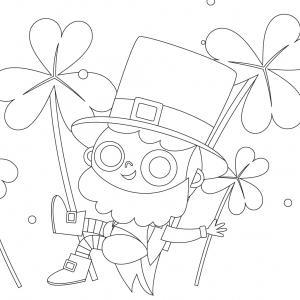 Coloriage Saint Patrick à proposer aux enfants qui aiment l'Irlande et cette fête joyeuse. Page 1