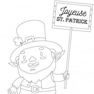 Coloriage Saint Patrick à proposer aux enfants qui aiment l'Irlande et cette fête joyeuse. Page 10