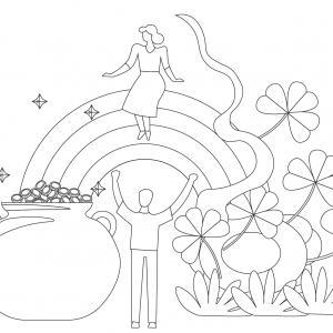 Coloriage Saint Patrick à proposer aux enfants qui aiment l'Irlande et cette fête joyeuse. Page 4