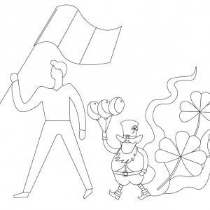 Coloriage Saint Patrick à proposer aux enfants qui aiment l'Irlande et cette fête joyeuse. Page 5