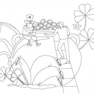 Coloriage Saint Patrick à proposer aux enfants qui aiment l'Irlande et cette fête joyeuse. Page 6