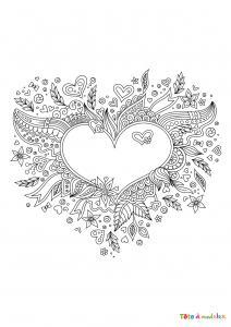 Voici un joli coloriage de Saint Valentin avec un coeur fleuri. Une bonne idée de dessin à imprimer.