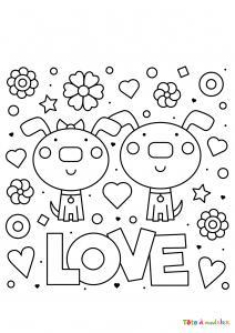 Imprimer le coloriage de St Valentin couple d'animaux entourés de motifs de St Valentin.