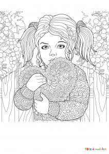 Imprimer le coloriage des enfant à la saint valentin avec la petite fille qui porte un coeur.