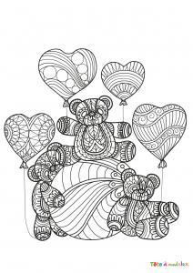 Imprimer le coloriage de St Valentin des ours au coeur. Un dessin pour la Saint Valentin.