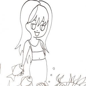 Coloriage de sirène à imprimer. Coloriage d'une sirène  jouant avec les poissons à imprimer pour le coloriage des enfants, dessin 23