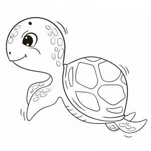 Voici un coloriage de tortue à imprimer gratuitement. Un dessin de tortue à imprimer pour tous les petits amoureux des animaux de la mer. Page 02