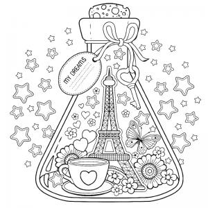 Coloriage tour Eiffel : un dessin à imprimer avec la dame de fer. Un coloriage à imprimer sur le thème de Paris et de la France - Page 01