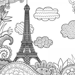 Coloriage tour Eiffel : un dessin à imprimer avec la dame de fer. Un coloriage à imprimer sur le thème de Paris et de la France - Page 02
