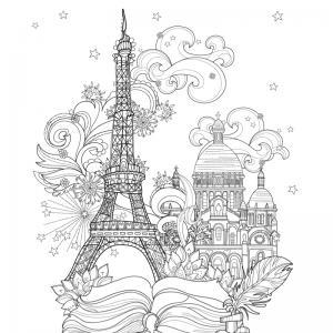 Coloriage tour Eiffel : un dessin à imprimer avec la dame de fer. Un coloriage à imprimer sur le thème de Paris et de la France - Page 03