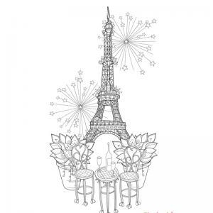 Coloriage tour Eiffel : un dessin à imprimer avec la dame de fer. Un coloriage à imprimer sur le thème de Paris et de la France - Page 04