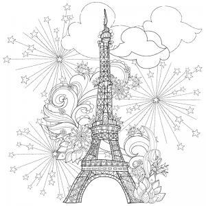 Coloriage tour Eiffel : un dessin à imprimer avec la dame de fer. Un coloriage à imprimer sur le thème de Paris et de la France - Page 05
