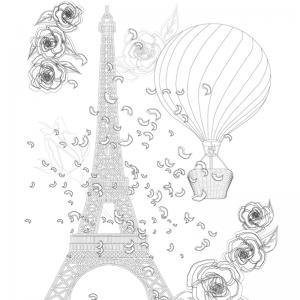 Coloriage tour Eiffel : un dessin à imprimer avec la dame de fer. Un coloriage à imprimer sur le thème de Paris et de la France - Page 08