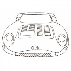 Coloriage voiture de course vue de face