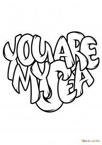 Voici le coloriage You are my Sea. Un joli dessin à imprimer gratuitement plein d'amour !