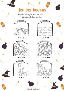 Une page de jeu à imprimer pour apprendre à compter aux enfants de maternelle. Avec cette page d'exercice votre enfant peut s'entraîner à compter, il doit compter les objets contenus dans chaque bocal.