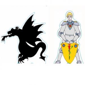 Décoration de gâteau chevalier à imprimer : dragon noir et chevalier blond debout. Ces décorations sont à imprimer, découper, plier et coller, tout simplement.