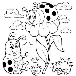 Dessin coccinelle : un coloriage de coccinelle à proposer aux enfants qui aiment ces petits insectes - Page 1
