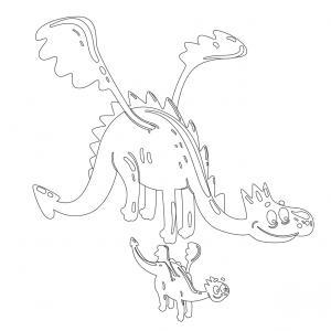 Dessin de dragon : voici un dessin à imprimer avec un superbe dragon. Un coloriage à imprimer sur le thème des dragons et des animaux légendaires - Page 01