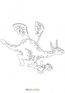 Dessin de dragon : voici un dessin à imprimer avec un superbe dragon. Un coloriage à imprimer sur le thème des dragons et des animaux légendaires - Page 02