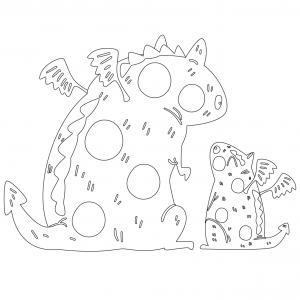 Dessin de dragon : voici un dessin à imprimer avec un superbe dragon. Un coloriage à imprimer sur le thème des dragons et des animaux légendaires - Page 03