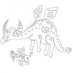 Dessin de dragon : voici un dessin à imprimer avec un superbe dragon. Un coloriage à imprimer sur le thème des dragons et des animaux légendaires - Page 04