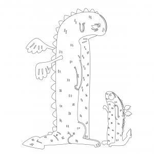 Dessin de dragon : voici un dessin à imprimer avec un superbe dragon. Un coloriage à imprimer sur le thème des dragons et des animaux légendaires - Page 05