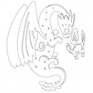Dessin de dragon : voici un dessin à imprimer avec un superbe dragon. Un coloriage à imprimer sur le thème des dragons et des animaux légendaires - Page 06