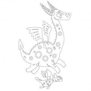 Dessin de dragon : voici un dessin à imprimer avec un superbe dragon. Un coloriage à imprimer sur le thème des dragons et des animaux légendaires - Page 07