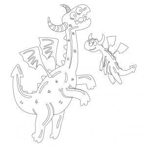 Dessin de dragon : voici un dessin à imprimer avec un superbe dragon. Un coloriage à imprimer sur le thème des dragons et des animaux légendaires - Page 08